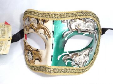 Genuine Venetian Green & Cream  half Mask (1)
